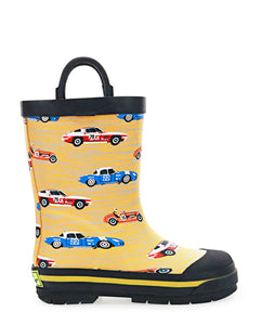 Kids Retro Race Rain Boot - Yellow