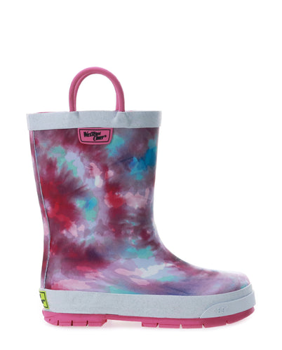 Kids Tie Dye Rain Boot - Fuschia