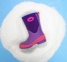 Studio image of purple neoprene boot on a white and blue background.