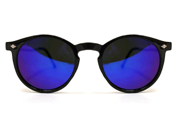 Lunettes Flex - black & gold / blue mirror