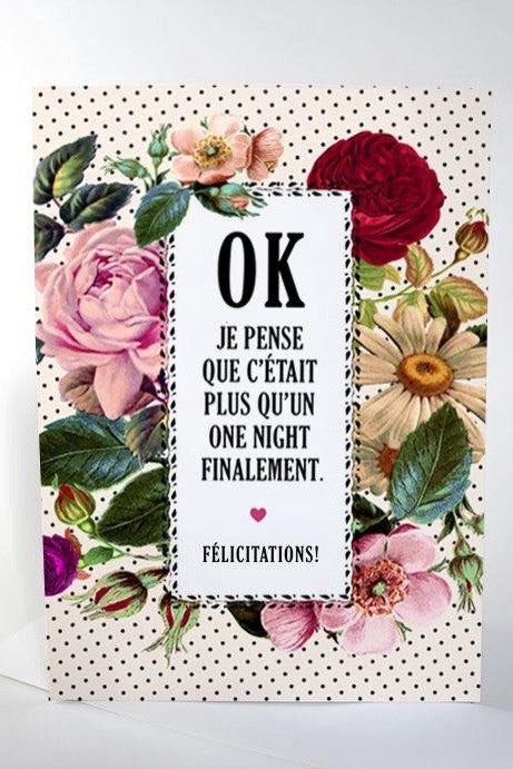 "Carte ""Plus qu'un one night"""