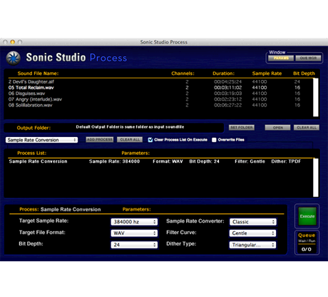Sonic Studio Process App. for Mac.