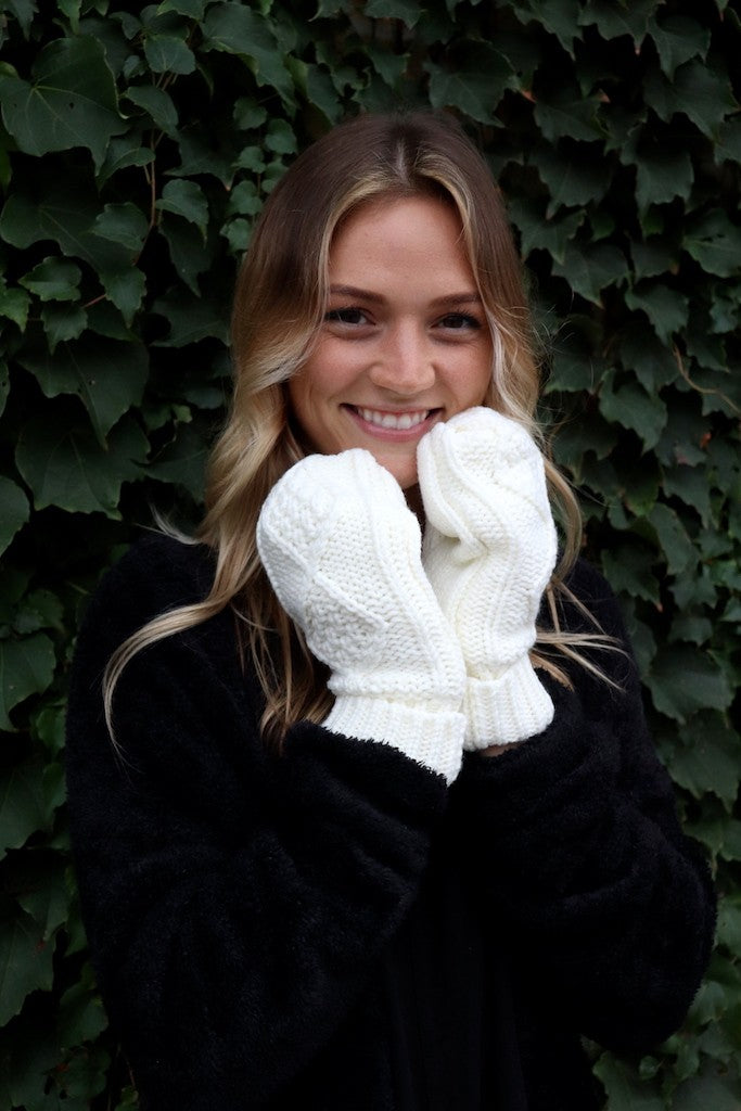 Fleece Lined Mittens - White