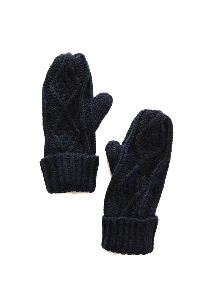 Fleece Lined Mittens - Navy