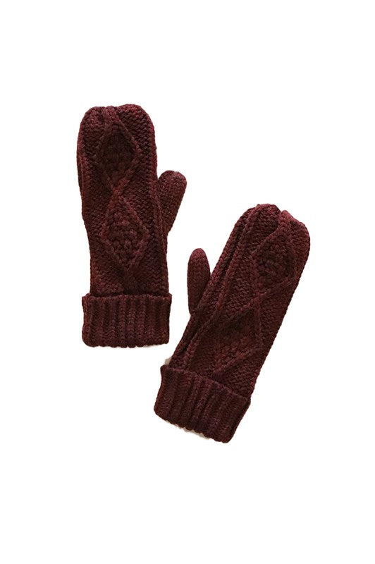 Fleece Lined Mittens - Wine