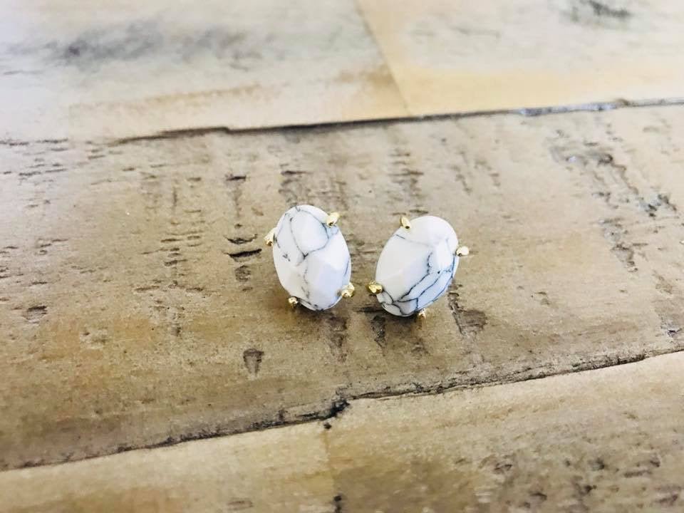 Faux Marble Stud Earrings
