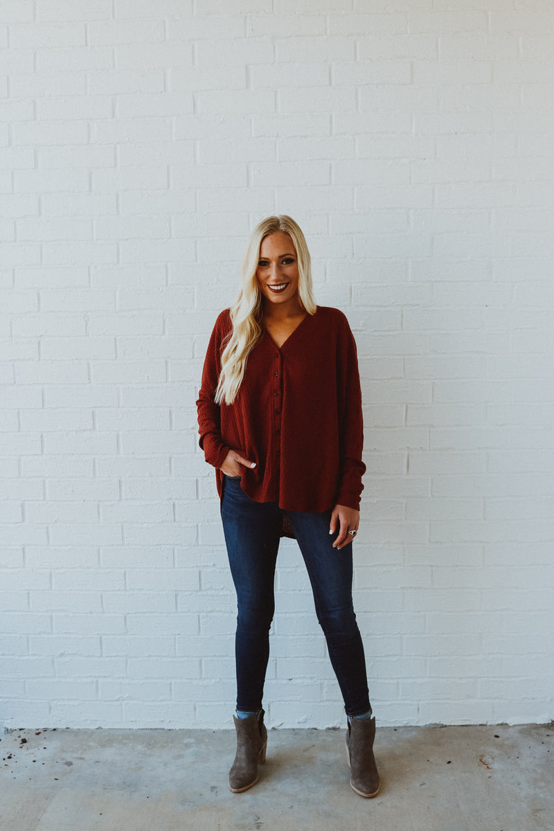 Better Than The Rest Long Sleeve Tie Top - Burgundy