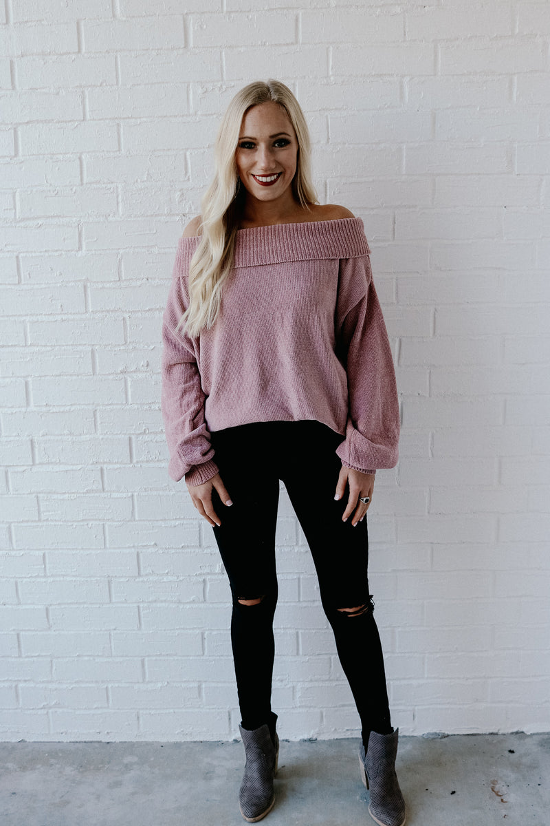 Living In This Mauve Off Shoulder Sweater
