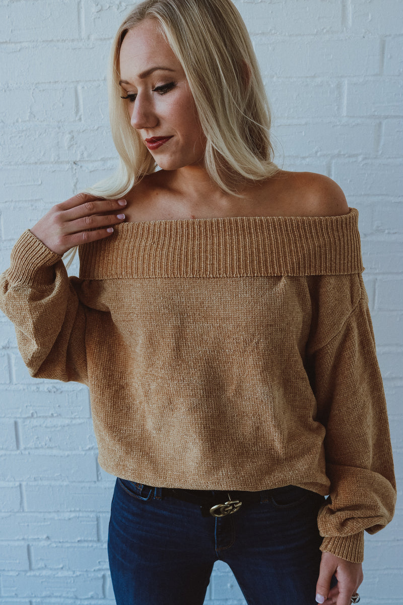 Living In This Mustard Off Shoulder Sweater