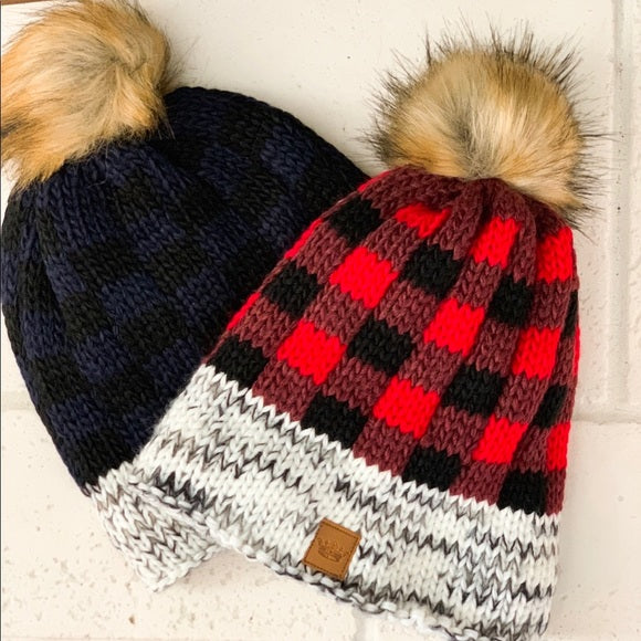 Buffalo Plaid Beanie - Navy