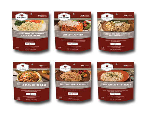 6ct Pack - 72 Hour Emergency Entrée Kit (2 Serving Outdoor Pouch Meals)