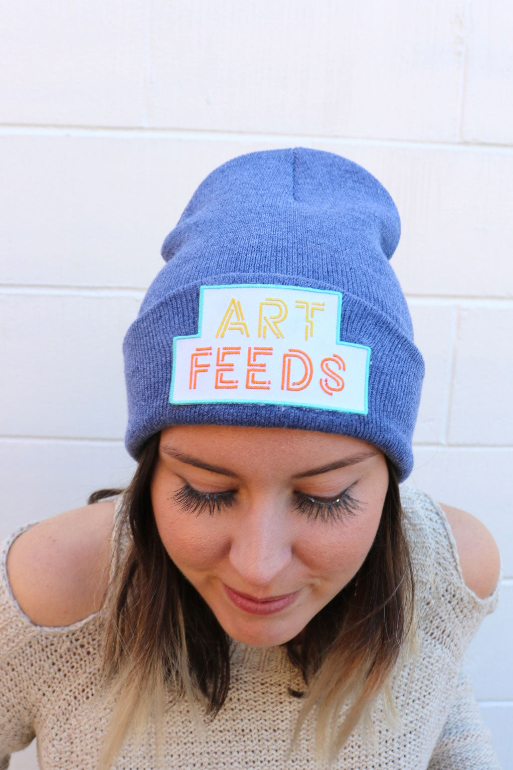 Heather Blue Art Feeds Beanie