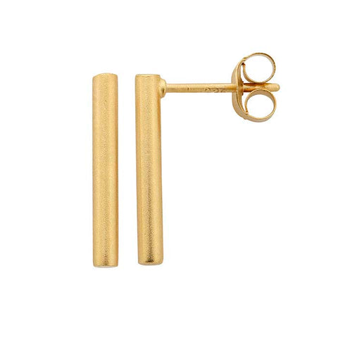 24K Gold Cylinder Post Earrings