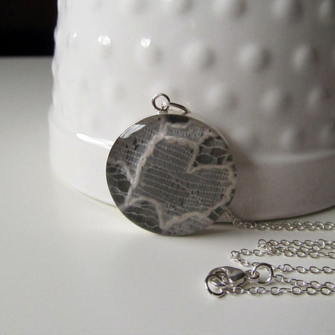 Wedding Lace Necklace - Or Any Sentimental Material - Sterling Silver Large Pendant