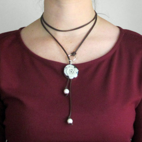 Leather, Pearl, and Lace Lariat Necklace