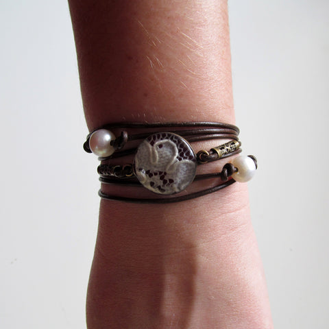 Leather, Lace, and Pearl Wrap Bracelet and Choker in One