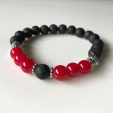 Aromatherapy Diffuser Bracelet - Essential Oil Bracelet - Red and Black