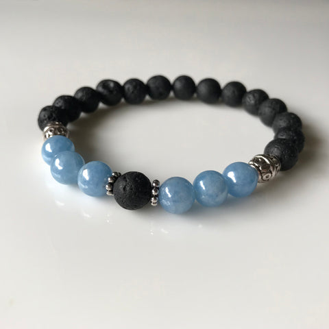 Aromatherapy Diffuser Bracelet - Essential Oil Bracelet - Light Blue Angelite