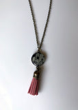 Vintage Lace Tassel Necklace - Black
