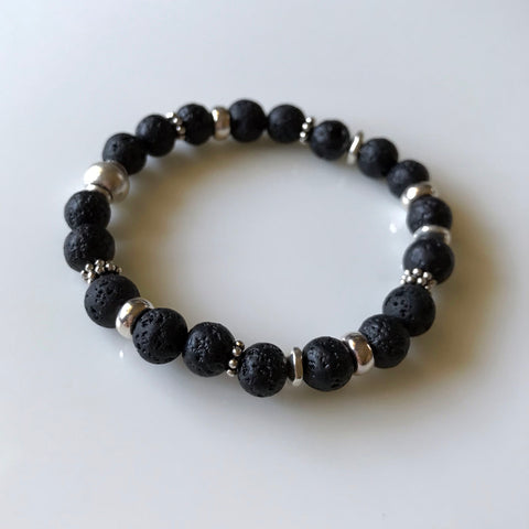 Aromatherapy Diffuser Bracelet - Essential Oil Bracelet - Black and Silver Beads