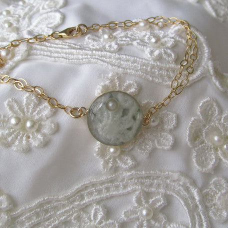 Wedding Lace Bracelet - (Or Any Sentimental Material) - Custom 14K Gold Bracelet