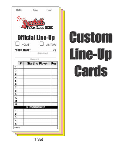 Custom Line Up Cards (12 Player - 5 Sub)