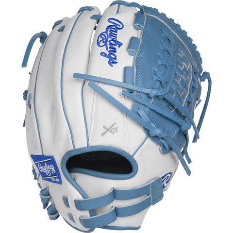 "Liberty Advanced - White | Columbia Blue 12.5"" Fastpitch Outfield Glove RLA125-18WCB - Texas Bat Company"