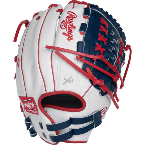 "Liberty Advanced - White | Navy | Scarlet 12.5"" Fastpitch Outfield Glove RLA125-18WNS-3/0 - Texas Bat Company"