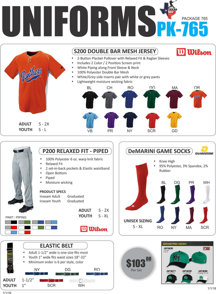 Wilson Uniform Package 765 - Texas Bat Company
