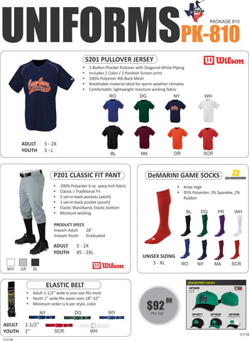 Wilson Uniform Package 810 - Texas Bat Company
