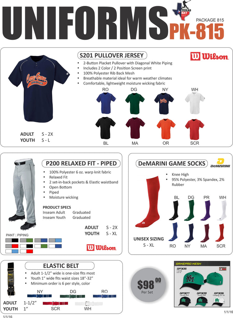 Wilson Uniform Package 815