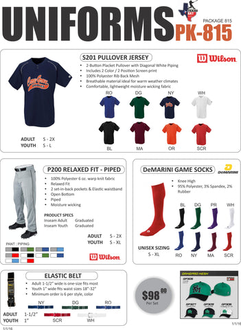 Wilson Uniform Package 815 - Texas Bat Company
