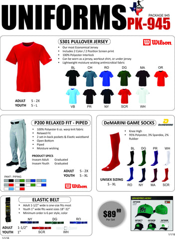 Wilson Uniform Package 945