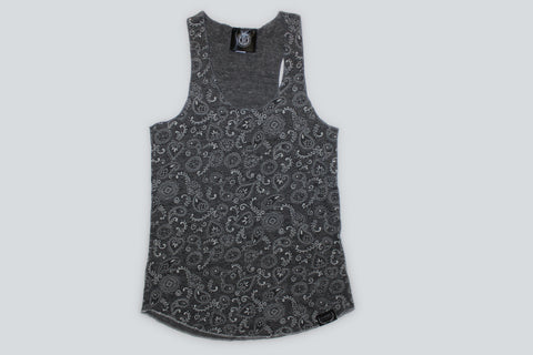 Women's Paisley Tank Top-Charcoal Grey