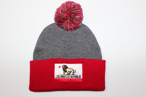 Pride of L.A. Pom Beanie-Heather Grey & Red