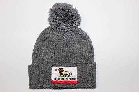 Pride of L.A. Pom Beanie-Heather Grey