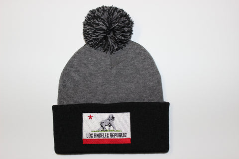 King of L.A. Pom Beanie-Heather Grey & Black