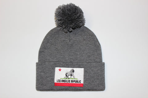 King of L.A. Pom Beanie-Heather Grey