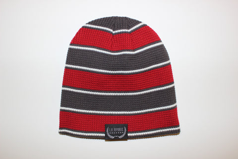 Charcoal Grey & Red Beanie