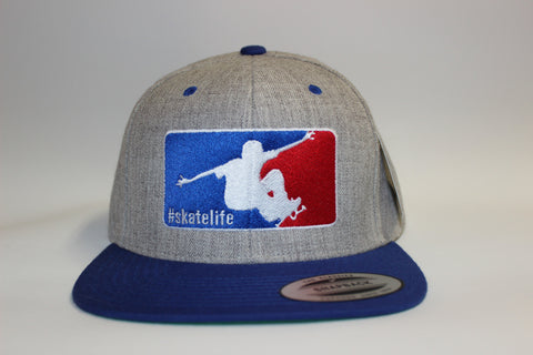 Skatelife Snapback-Heather Grey w/Royal Blue Bill