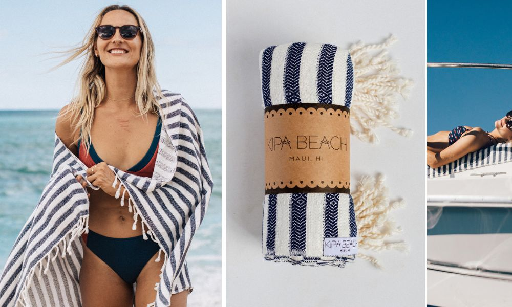 navy white stripped turkish towel