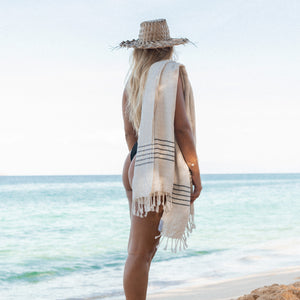 white turkish towel with tassels