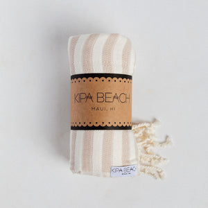 taupe and white beach towels