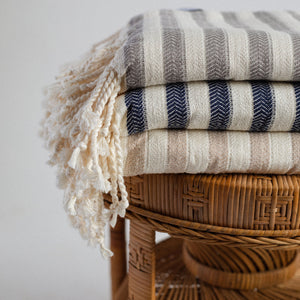 towels with tassels gray