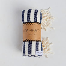 Load image into Gallery viewer, navy white turkish towels