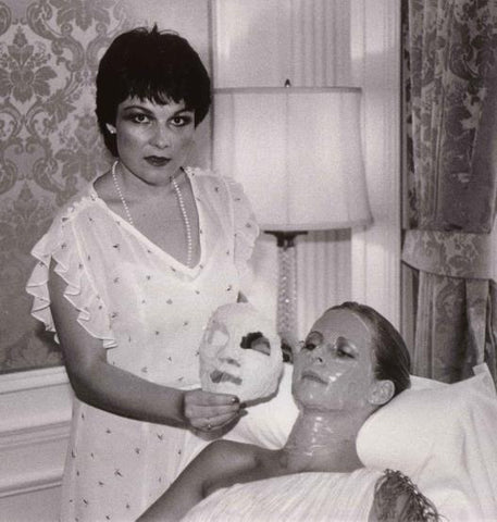 (Lydia introducing the Four Layer Facial to the press at the Pierre Hotel, 1980)