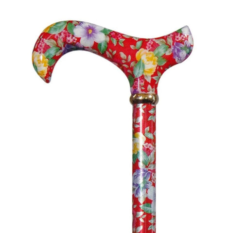 ADJUSTABLE CANE - GARDEN PARTY-Red Floral