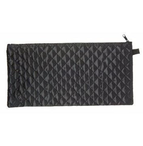 BLACK QUILTED CANE POUCH
