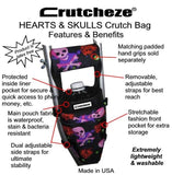 CRUTCHEZE CRUTCH BAG - HEARTS AND SKULLS - CRUTCH-Bags