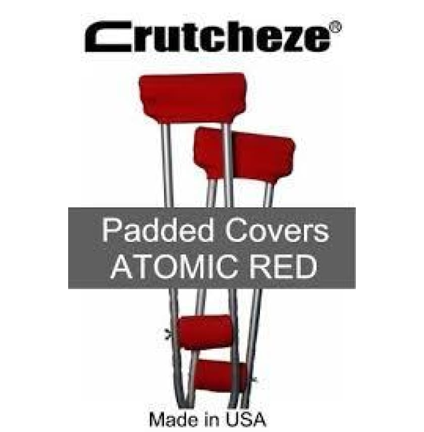 CRUTCHEZE CRUTCH PADDED COVERS - ATOMIC RED - CRUTCH-Padsn Grips